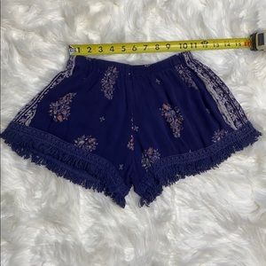 Band of Gypsies Shorts - Band of Gypsies Boho Fringe Blue Pattern Shorts